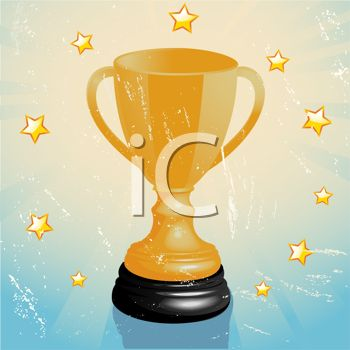 picture of a golden winner's cup surrounded by stars on a blue background in a vector clip art illustration