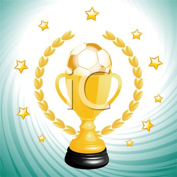 picture of a golden soccer winners cup with stars in a vector clip art illustration