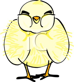 picture of a baby chick standing in a vector clip art illustration