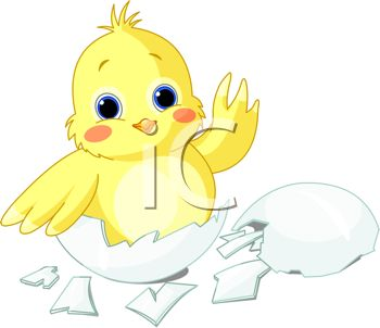 picture of a baby chick coming out of his shell in a vector clip art illustration