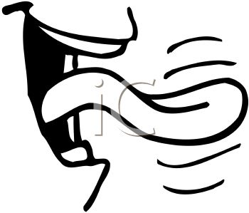 picture of a mouth with a tongue sticking out in a vector clip art illustration