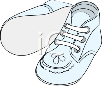 Picture of a Pair of Blue Infant Shoes in a vector clip art illustration