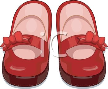 picture of a pair of bright red toddler shoes in a vector clip art illustration