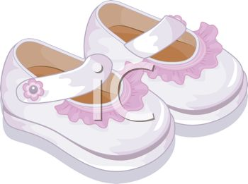 picture of a pair of cute girl toddler shoes in a vector clip art illustration