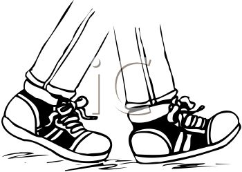 picture of a partial pair of legs walking with tennis shoes on in a vector clip art illustration