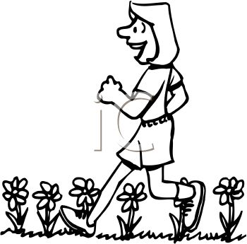 picture of a happy woman taking a walk in a vector clip art illustration