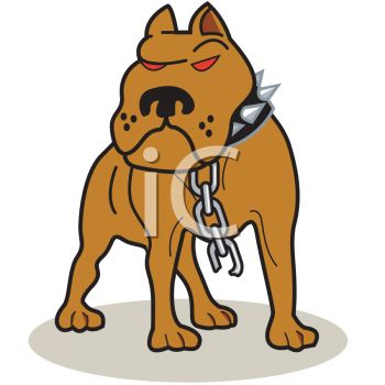 picture of a mean looking pitbull broken off of his chain in a vector clip art illustration