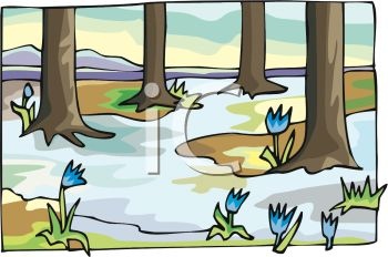 Picture of a forest of trees with blue flowers in a vector clip art illustration