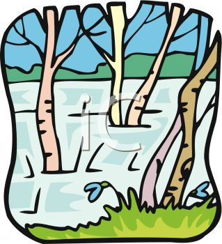 picture of trees under water in a vector clip art illustration