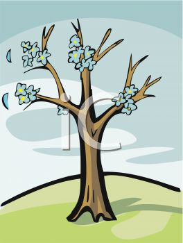 picture of a tree with blue flowers in a vector clip art illustration