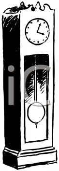 picture of a grandfather clock in black and white in a vector clip art illustration