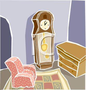 picture of a room with furniture and  grandfather clock in a vector clip art illustration