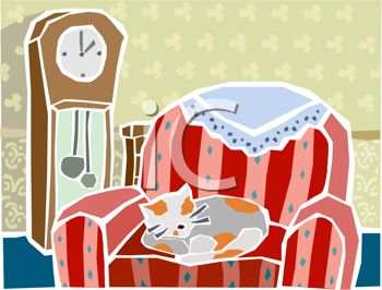 picture of a cat curled up in a chair with a grandfather clock behind it in a vector clip art illustration