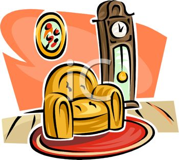 picture of a home setting with a chair and a grandfather clock in a vector clip art illustration