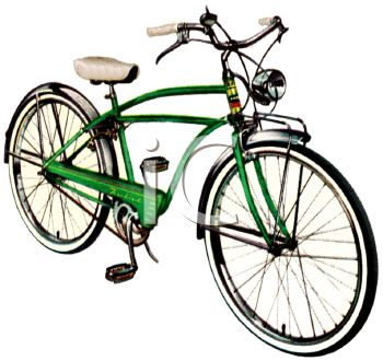picture of a green boys 10 speed bike in a vector clip art illustration