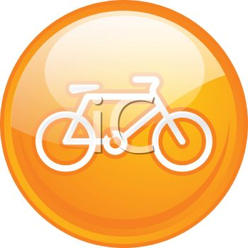 picture of an orange round sign with a bicycle in the center in a vector clip art illustration