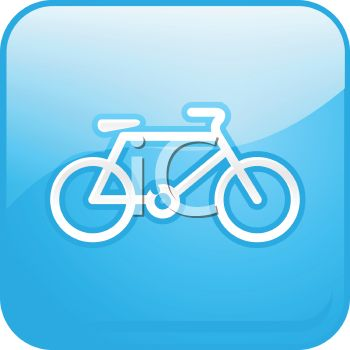 Picture of a Blue square sign with a bicycle in a vector clip art illustration