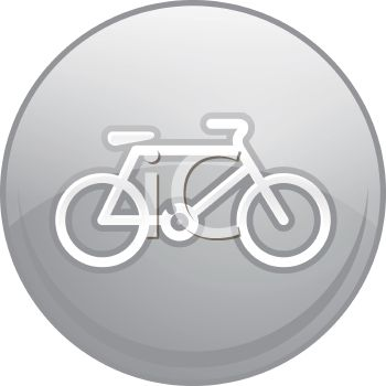 Picture of a round gray sign with a bicycle in the middle in a vector clip art illustration