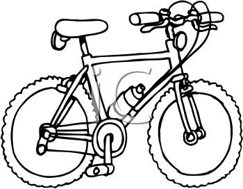 Picture of a boys bicycle in black and white in a vector clip art illustration