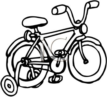Picture of a bicycle with training wheels in black and white in a vector clip art illustration