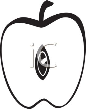 picture of an apple cut in half in a vector clip art illustration