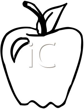 Picture of an apple with a nick out of it, in black and white in a vector clip art illustration