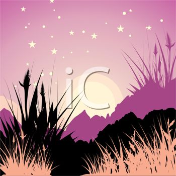 Picture of a nature scene at dusk in a vector clip art illustration