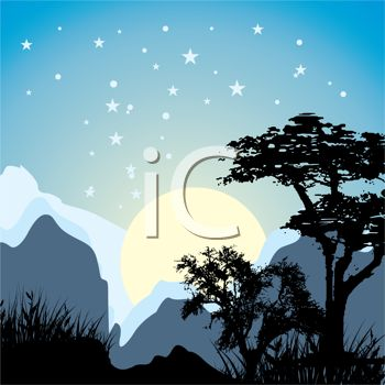 Picture of a sun setting behind mountains during winter in a vector clip art illustration