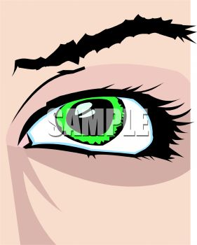 picture of a person's green eye in a vector clip art illustration
