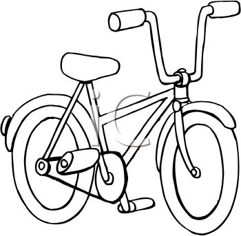 picture of a bicycle in black and white in a vector clip art illustration
