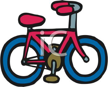 Picture of a red and blue bicycle in a vector clip art illustration