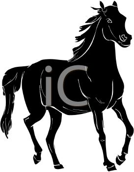 picture of a black horse in a vector clip art illustration