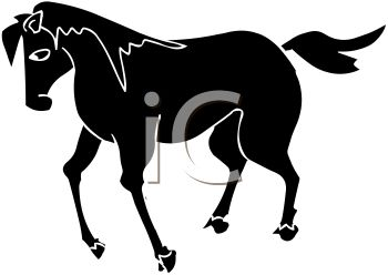picture of a horse silhouette in a vector clip art illustration