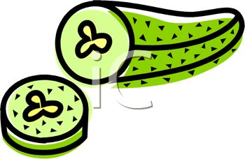 picture of a pickle with a piece cut off in a vector clip art illustration