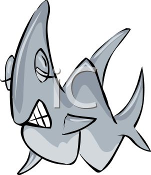 picture of a shark with it's eyes closed showing it's teeth in a vector clip art illustration