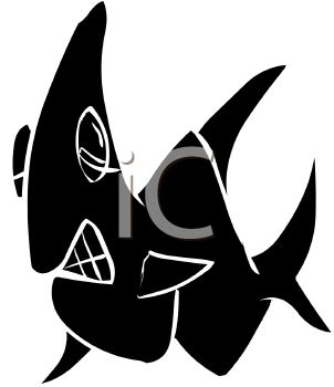 picture of a silhouette of a shark in a vector clip art illlustration