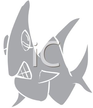 picture of a grey scale shark showing it's teeth in a vector clip art illustration