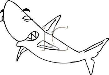 picture of a shark in black and white in a vector clip art illustration