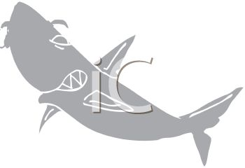 picture of a grey scale shark in a vector clip art illustration