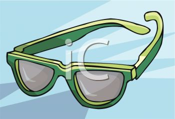 picture of a pair of green eyeglasses in a vector clip art illustration