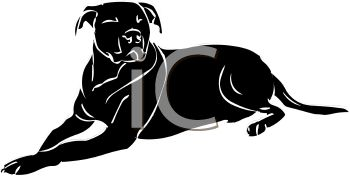 picture of a black dog laying down in a vector clip art illustration