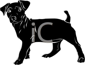 picture of a cute black puppy dog standing in a vector clip art illustration