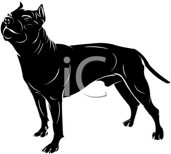 picture of a black dog standing in a vector clip art illustration