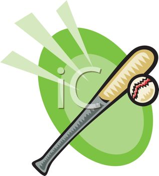 clip art illustration of a baseball bat and ball in a vector clip art illustration
