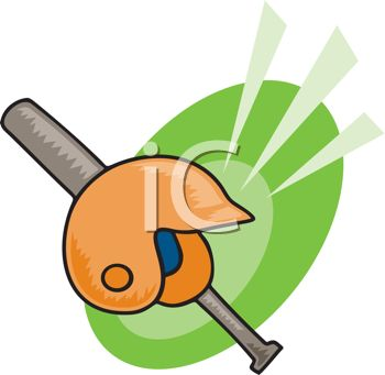 picture of a baseball bat and a helmet in a vector clip art illustrations