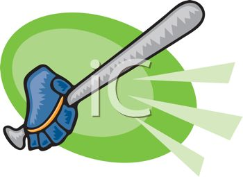 picture of a baseball bat and glove in a vector clip art illustration