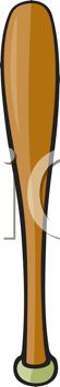 picture of a brown baseball bat in a vector clip art illustration