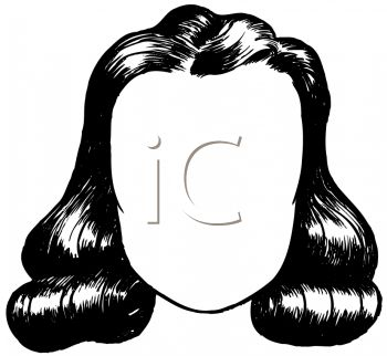 picture of a wig sitting on a mannequin head in a vector clip art illustration