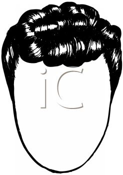 picture of a short wig on a mannequin head in a vector clip art illustration