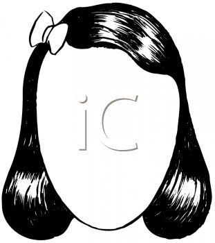 picture of a girls long black hair with a bow in a vector clip art illlustration